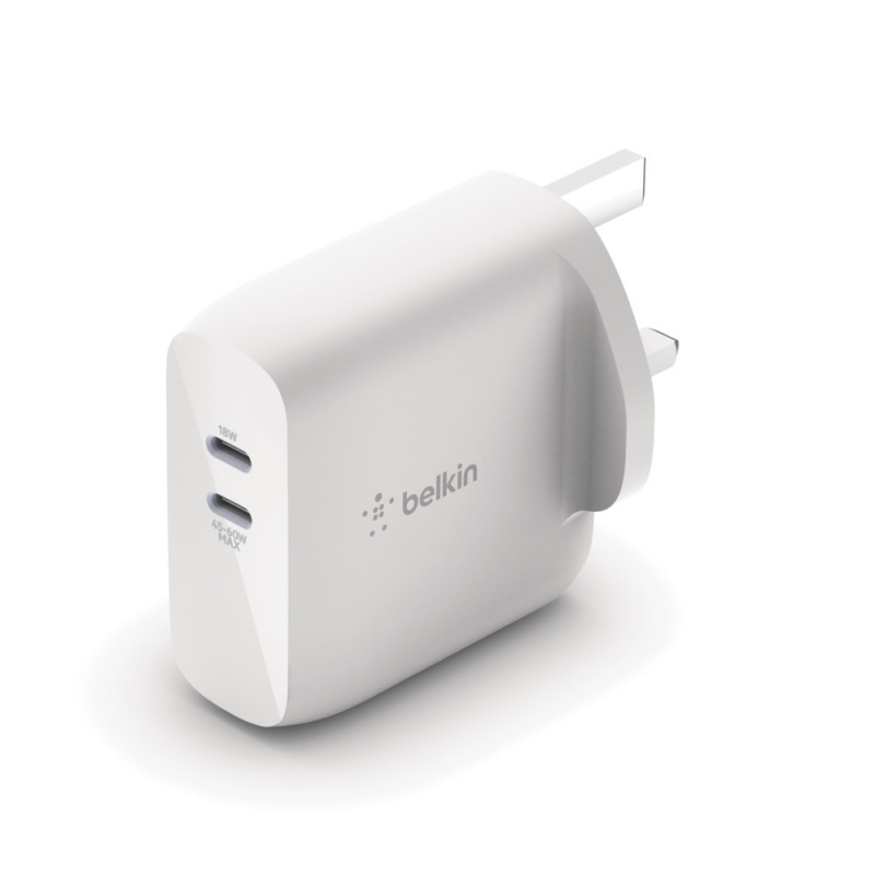 Belkin BOOST↑CHARGE™ 雙 USB-C PD GaN 家用充電器[63W][WCH003myWH]