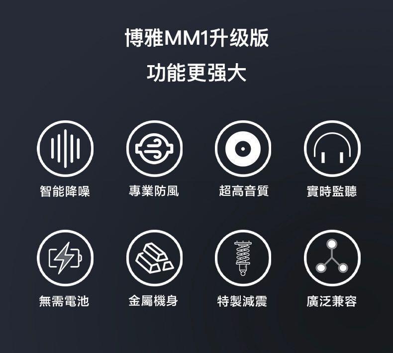 升級版/BOYA/by-MM1 + Plus/super-cardioid Condenser Shortgun microphone 🎤 / For smartphones/tablets/DSLRS/PC/Mac/recorder.../實時監聽/超心型電容式收音麥克風/加強靈敏度/降噪技術