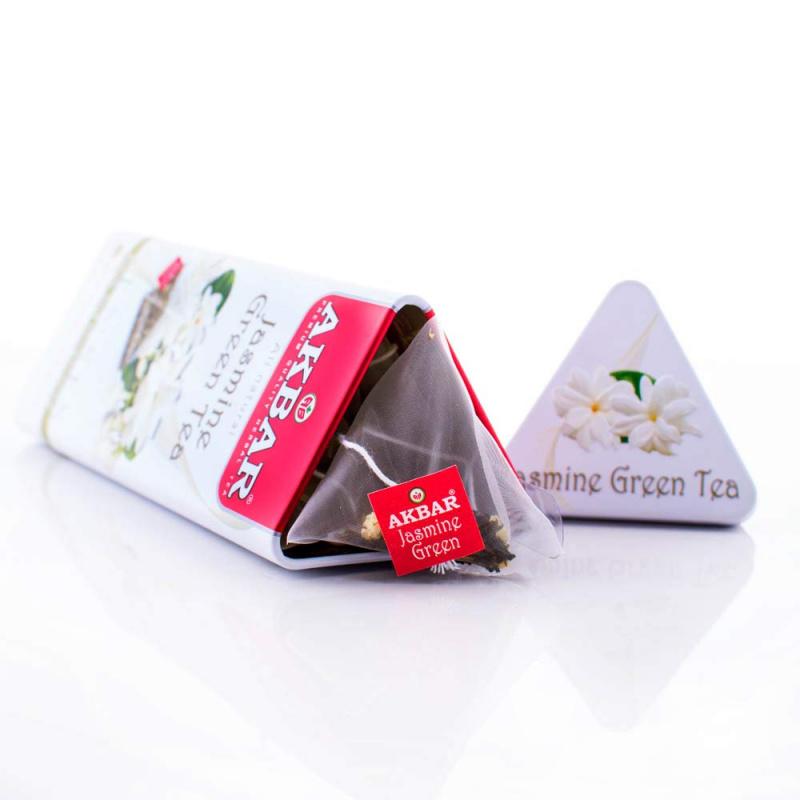 AKBAR 茉莉綠茶金字塔型茶包鐵罐裝 15 X 1.8g