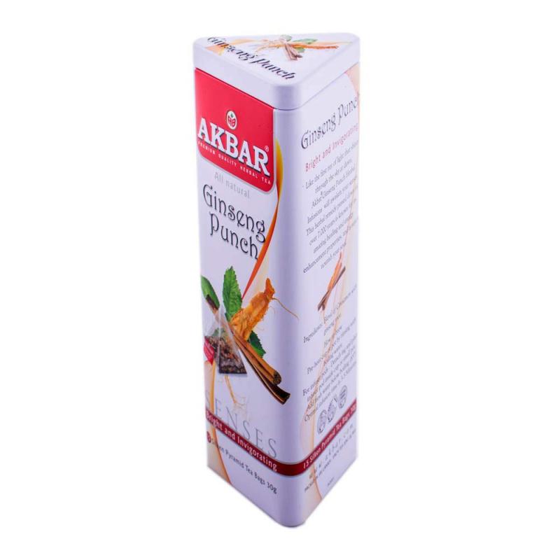 AKBAR 人參肉桂茶金字塔型茶包鐵罐裝 15 x 2g
