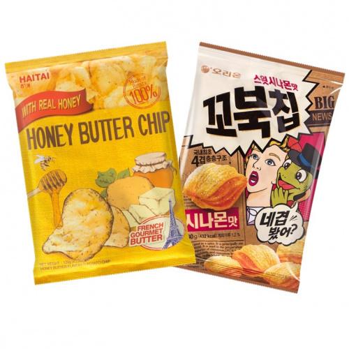 ORION 甜美肉桂味烏龜玉米片 80g + 海太卡樂B蜂蜜牛油味薯片 120g