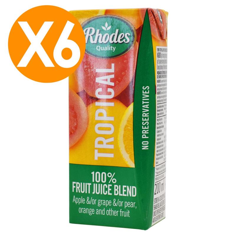 RHODES全天然100%熱帶水果風味混合果汁 200毫升 X6(平行進口)