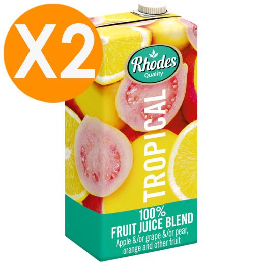 RHODES全天然100%熱帶水果風味混合果汁 1升裝 X2(平行進口)