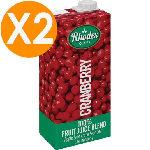 RHODES全天然100%蔓越莓混合果汁 1升裝 X2(平行進口)