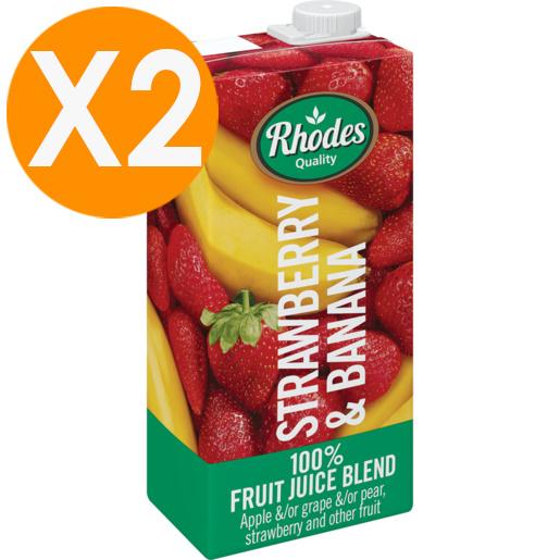 RHODES全天然100%士多啤梨香蕉混合果汁 1升裝 X2(平行進口)(最佳食用期至22/12/2020)