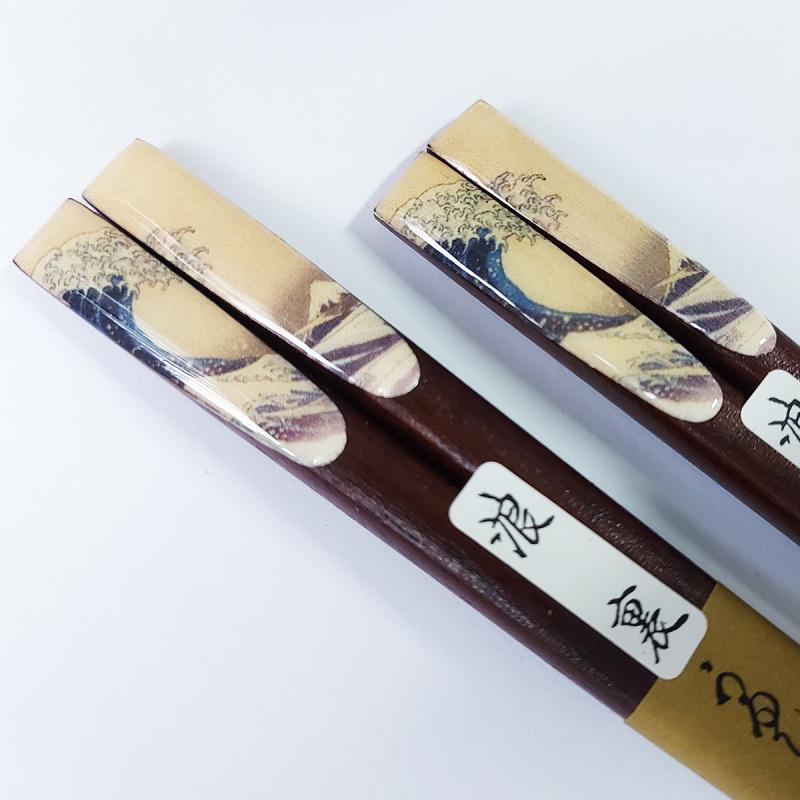 日本 神奈川《浮世繪》葛飾北斎沖浪裏 兩對工藝級筷子 禮盒套裝【市集世界 - 日本市集】