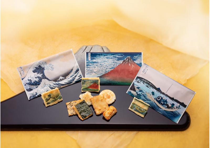日本 神奈川《浮世繪》北斎一福 沖浪裏/両国橋米餅菓子 送禮套裝【市集世界 - 日本市集】