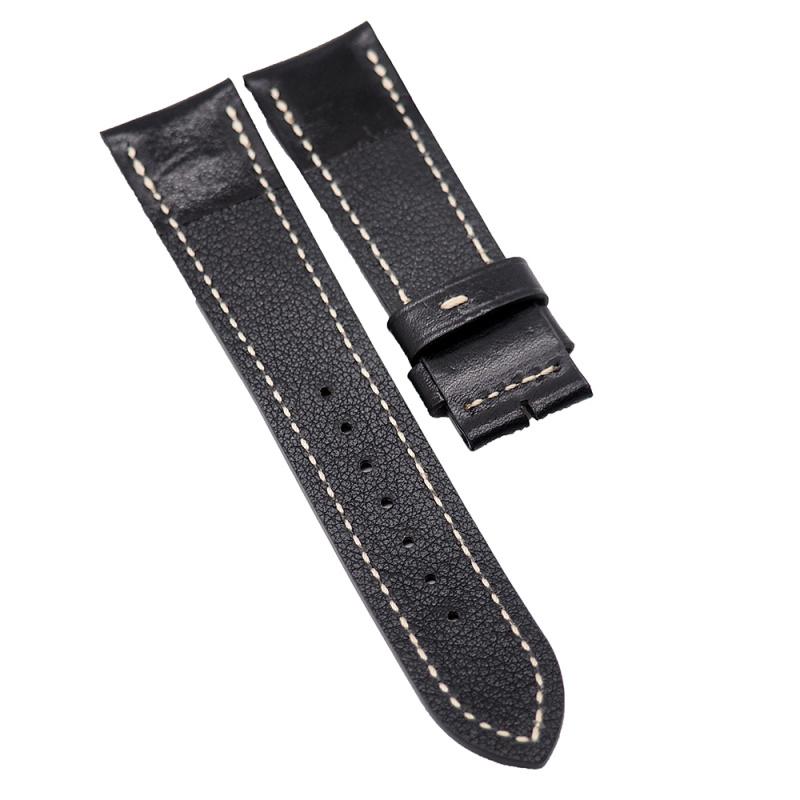 23mm 黑色油蠟皮錶帶配米黃色線
