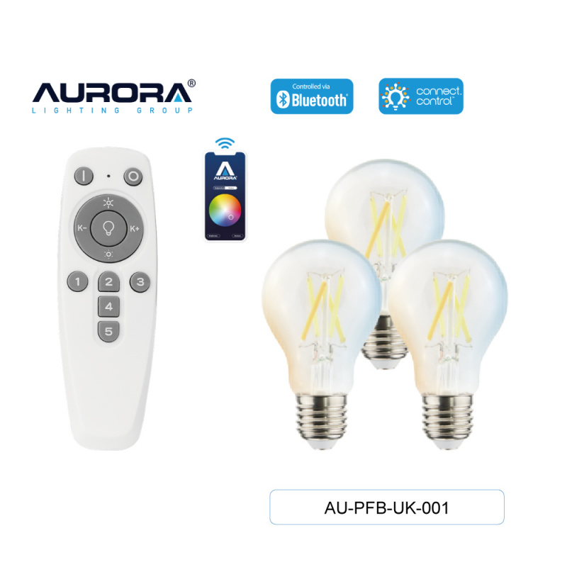 AURORA AU-PFB-UK-001 4.5W A60 E27 智能黃白光造型燈膽套裝