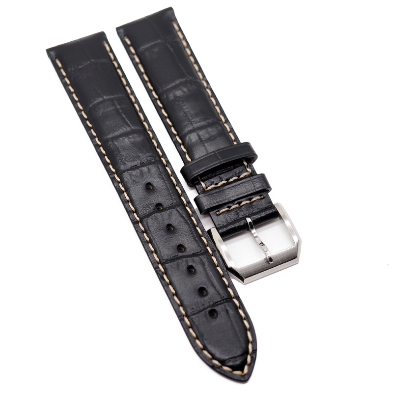 19mm, 21mm 黑色鱷魚紋牛皮錶帶配白車線