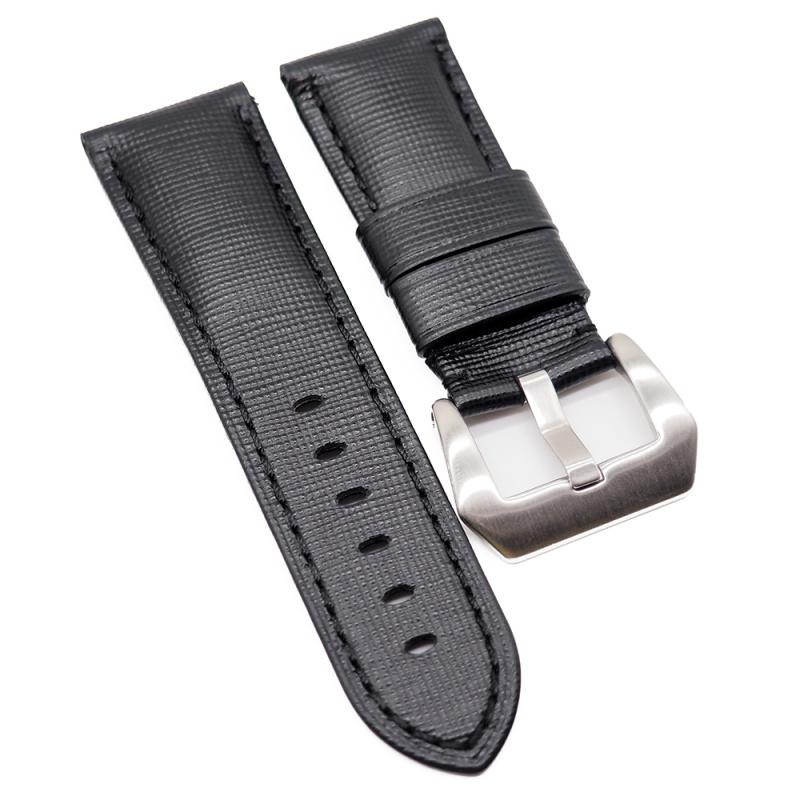 24mm Panerai 黑色十字紋牛皮代用錶帶