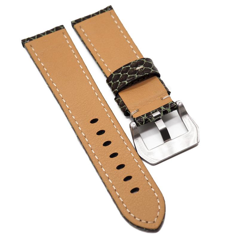 24mm Panerai 棕色蛇皮壓紋牛皮代用錶帶