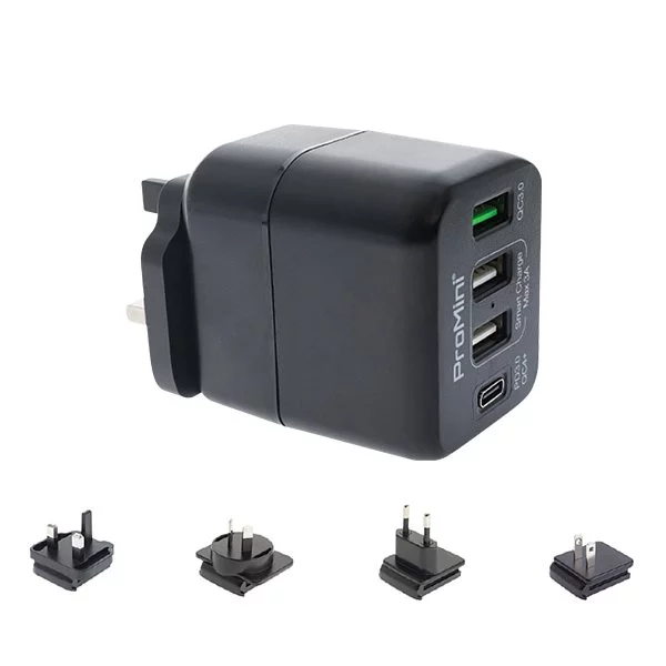 ProMini 4TPD PD3.0 PPS和QC3.0 45W 插牆式旅行快速充電器