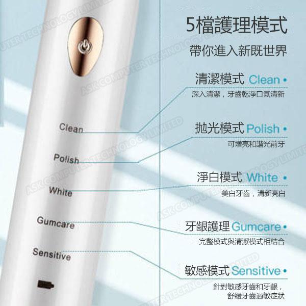 B&C 超聲波軟毛底座充電防水電動牙刷 (4刷頭)