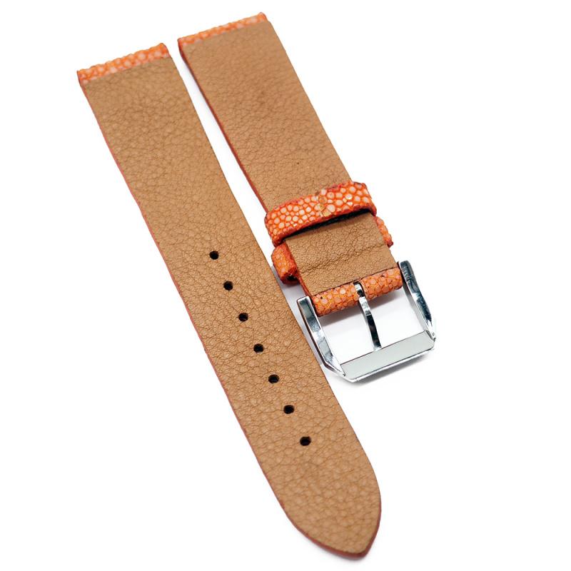 20mm 橙色珍珠魚 / 魔鬼魚皮錶帶