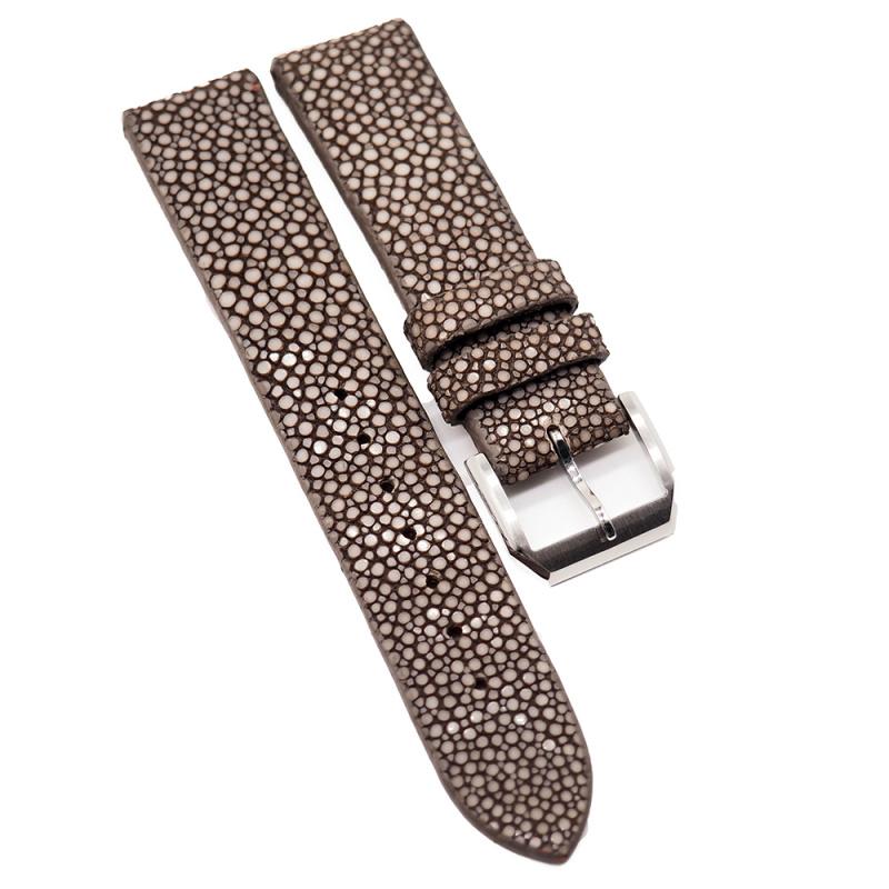 20mm 棕色珍珠魚 / 魔鬼魚皮錶帶