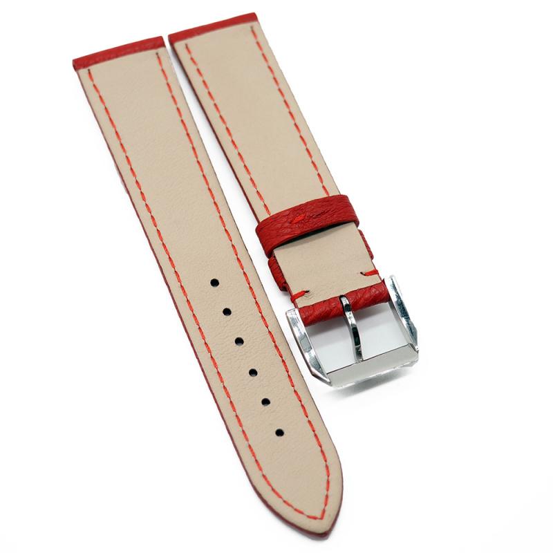 20mm 優質紅色鴕鳥皮錶帶