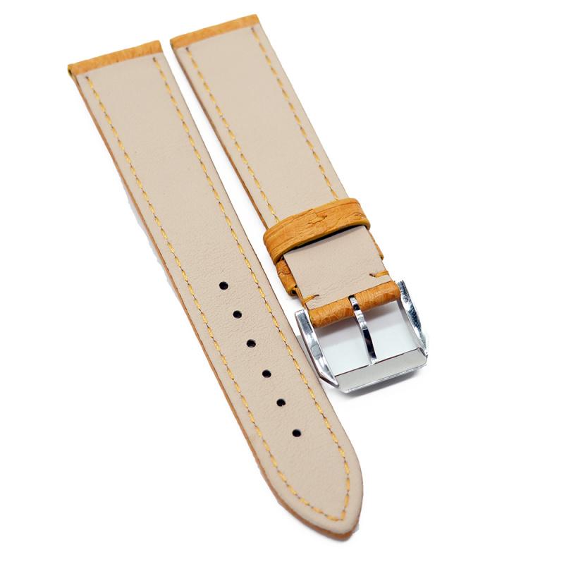 20mm 優質蜂蜜橙色鴕鳥皮錶帶