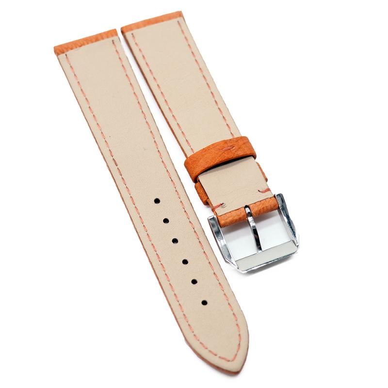 20mm 優質橙色鴕鳥皮錶帶