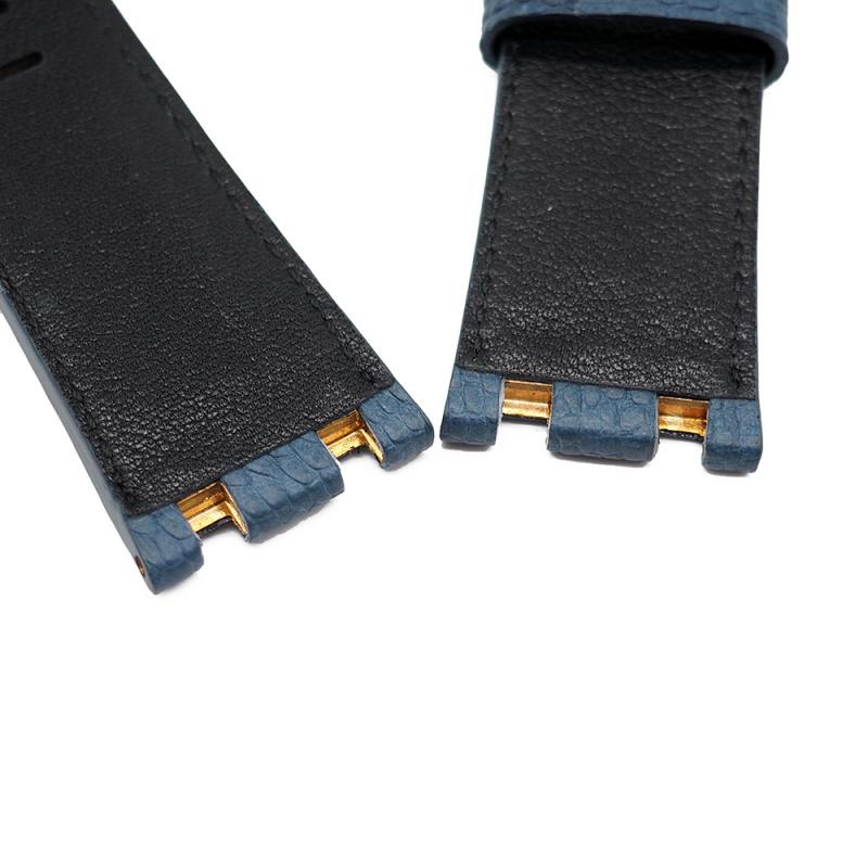 28mm Audemars Piguet 藍色橙間鴕鳥皮錶帶 合適 Royal Oak Offshore 42mm