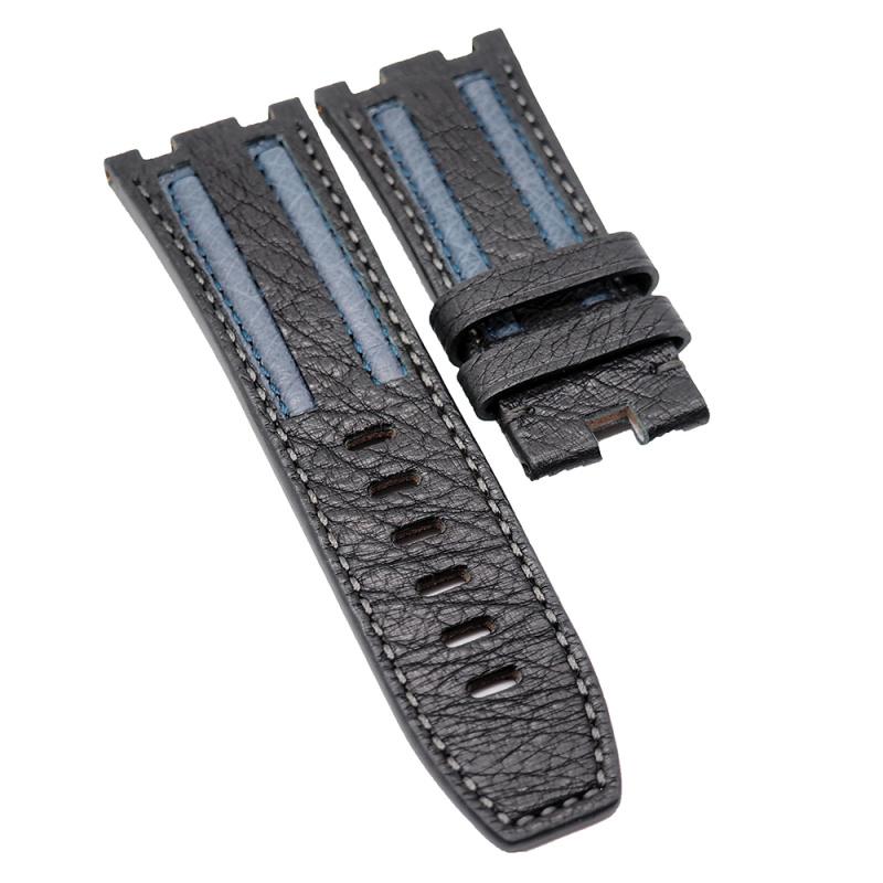 28mm Audemars Piguet 黑色藍間鴕鳥皮錶帶 合適 Royal Oak Offshore 42mm