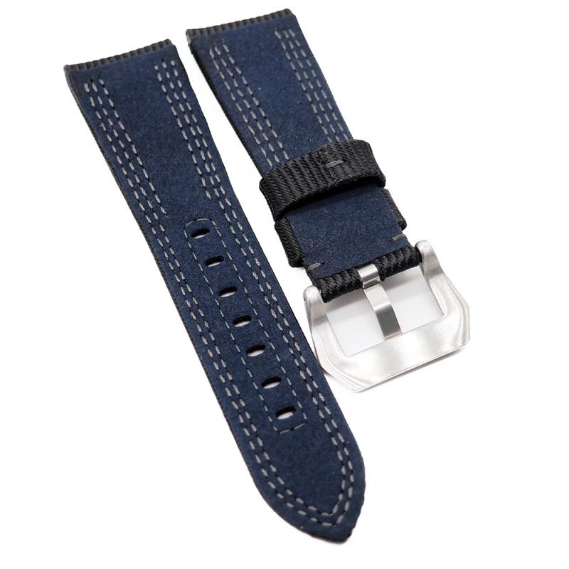 26mm Panerai 黑色尼龍雙車線代用錶帶