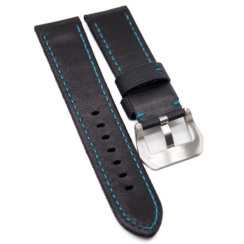 24mm Panerai 黑色碳纖維藍色車線代用錶帶