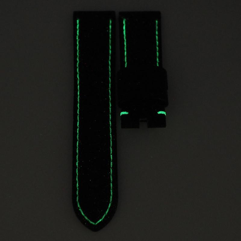 24mm Panerai 黑色碳纖維[夜光車線]代用錶帶