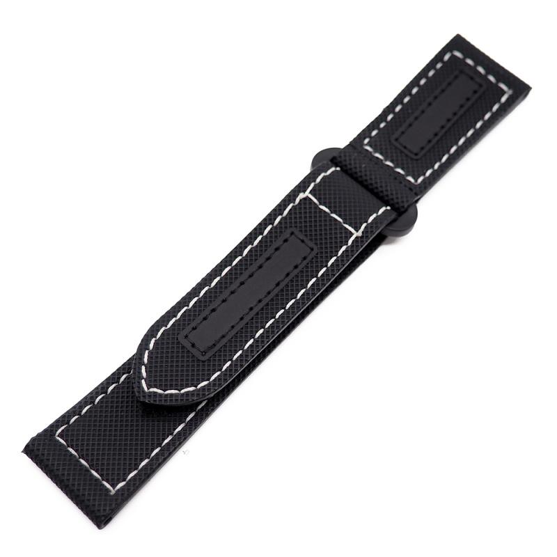 24mm Panerai 黑色碳纖維[夜光車線]魔術貼款代用錶帶