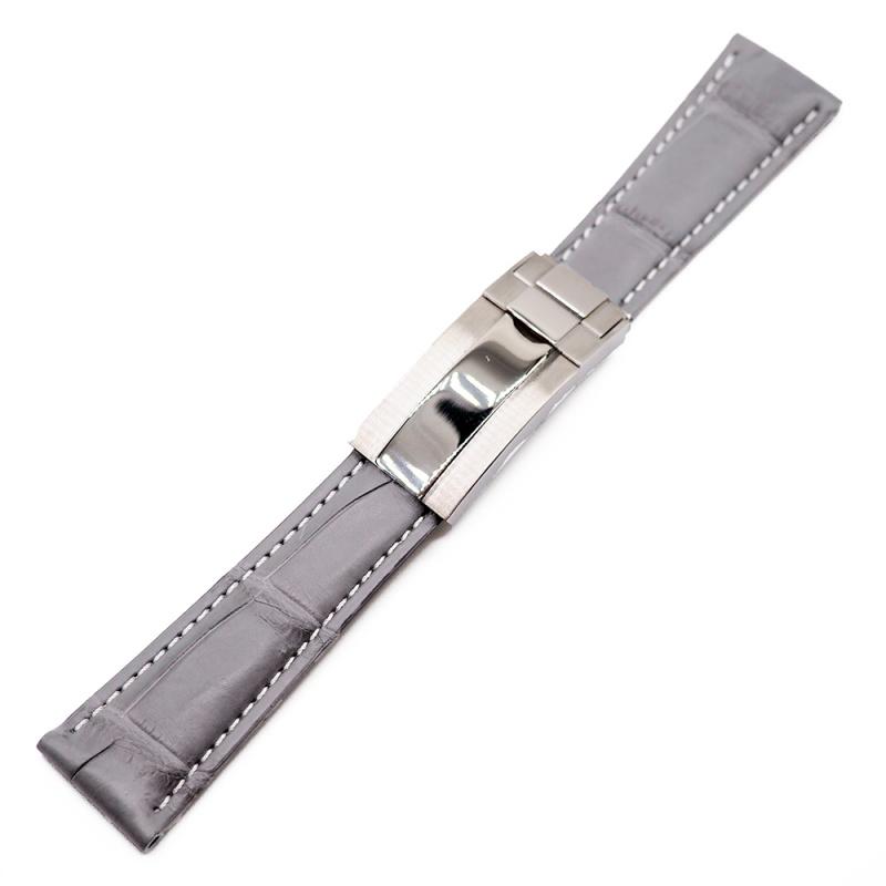 20mm 灰色鱷魚皮白車線 Rolex 代用錶帶