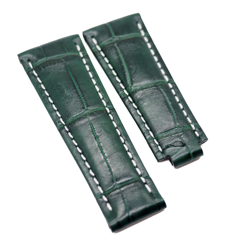 20mm 深綠色鱷魚皮白車線 Rolex 代用錶帶