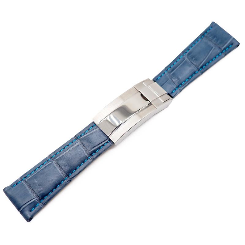 20mm 灰藍色鱷魚皮淺藍車線 Rolex 代用錶帶