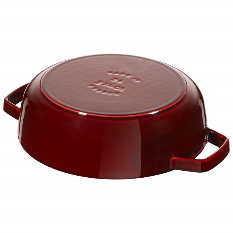 Staub Chistera Braiser 多用途雙耳鍋 28cm (3.7L) 酒紅色 12612887 滴落結構- 平行進口