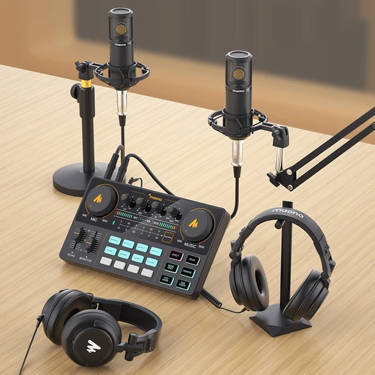 MAONO CASTER Lite AU-AM200便攜式多合一播客製作工作室