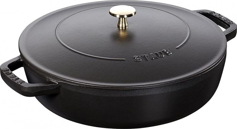Staub Chistera Braiser 多用途雙耳鍋 24cm (2.4L) 黑色 12612425 滴落結構- 平行進口