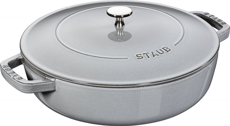 Staub Chistera Braiser 多用途雙耳鍋 24cm (2.4L) 灰色 12612418 滴落結構- 平行進口