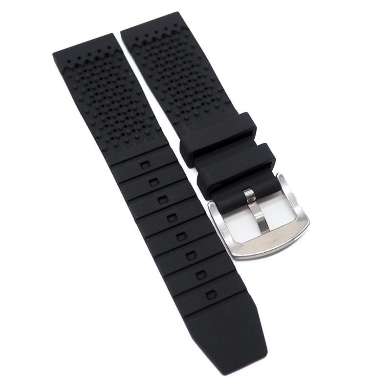 22mm 黑色硅膠錶帶