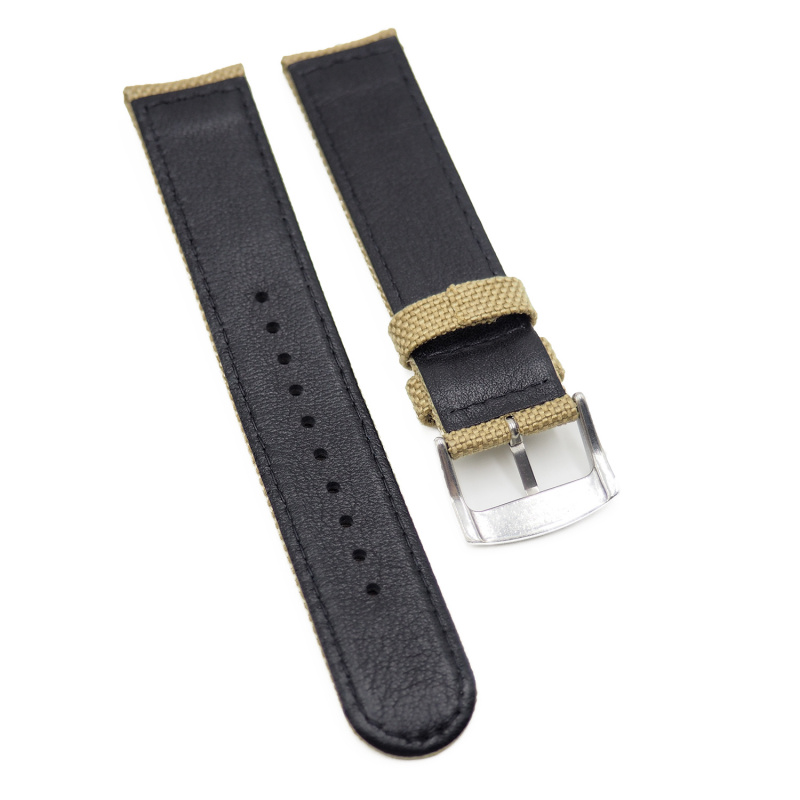 20mm, 22mm Seiko 優質尼龍牛皮代用錶帶, 軍綠色 / 卡其色 / 灰色 / 深藍色 / 黑色