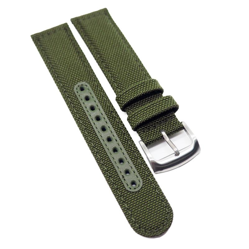 20mm Seiko 軍綠色尼龍牛皮代用錶帶
