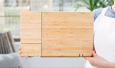 """美國 ChopBox 全球首創 5合1 智慧""""殺菌""""竹砧板 (UV殺菌/電子磅/磨刀/計時/二合一竹砧板)"""