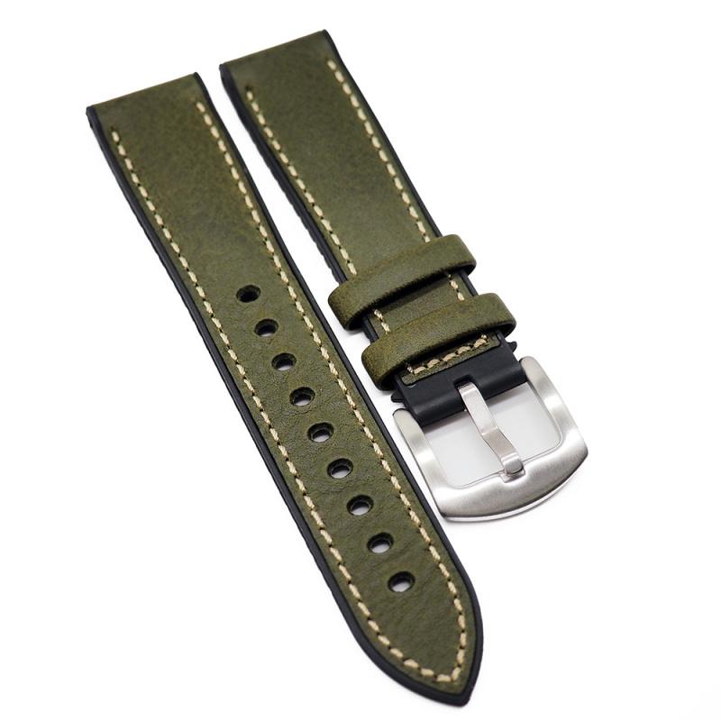 20mm, 22mm 橄欖綠牛皮膠錶帶, 兩種物料