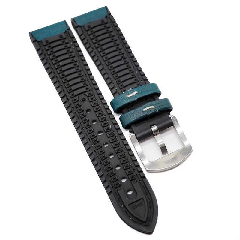 20mm, 22mm 湖水藍牛皮膠錶帶, 兩種物料
