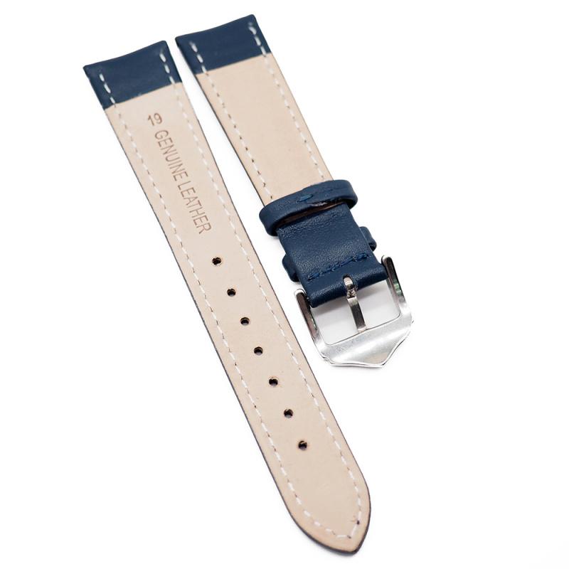 19mm 藍色平紋牛皮錶帶