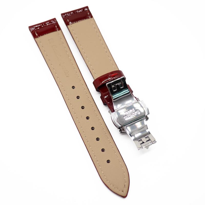 18mm 紅色漆皮真皮錶帶