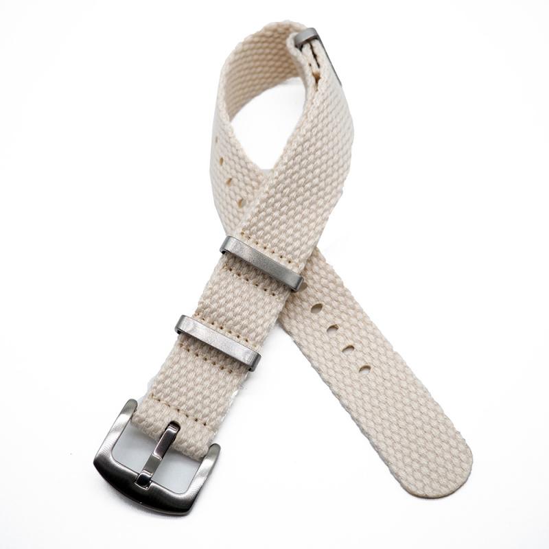 20mm, 24mm 白色編織帆布 Nato 錶帶
