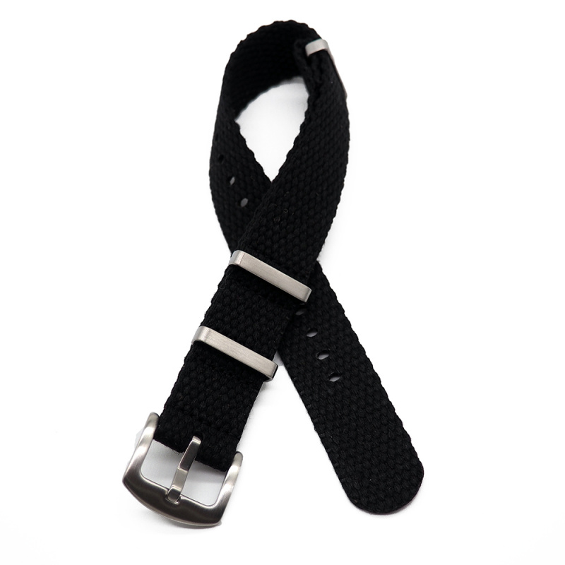 20mm, 24mm 黑色編織帆布 Nato 錶帶