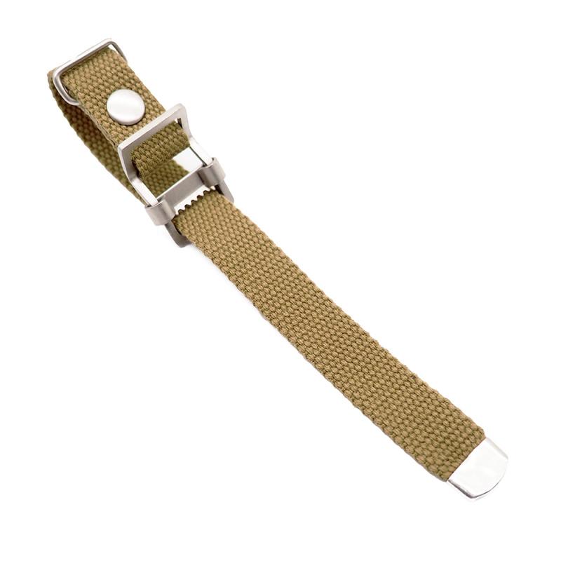 20mm, 22mm 土黃色編織帆布 Nato 錶帶, 活動牙扣