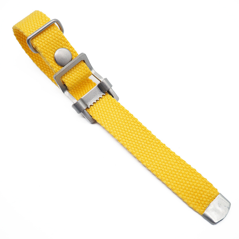 20mm, 22mm 黃色編織帆布 Nato 錶帶, 活動牙扣
