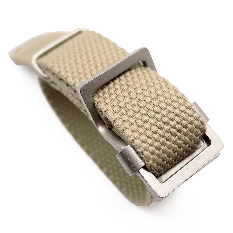 20mm, 22mm 卡其色編織帆布 Nato 錶帶, 活動牙扣