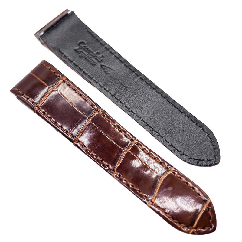 20mm, 23mm 橙啡色優質鱷魚皮 Cartier 代用錶帶 合適 Cartier Santos
